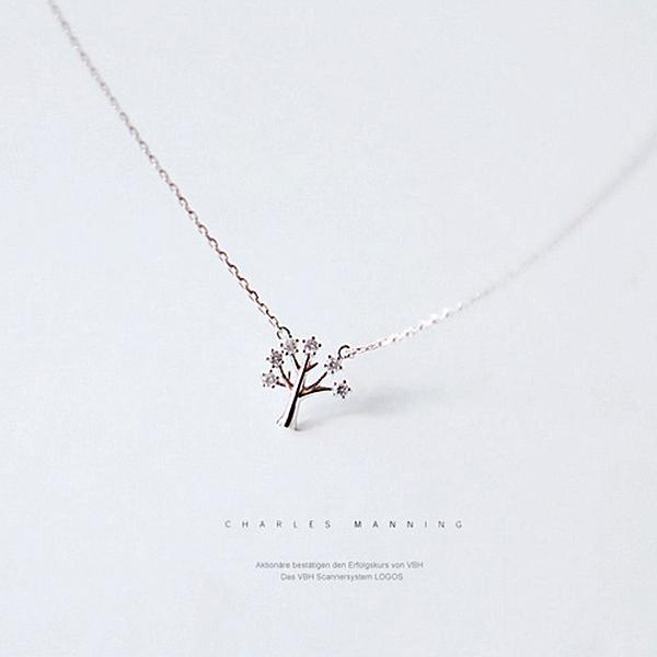 氣質許愿樹鋯石吊墜短款鎖骨項鍊