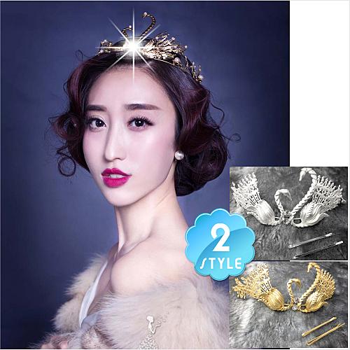 新娘婚紗喜宴頭飾髮飾金屬風皇后娘娘古裝雙天鵝皇冠(單入)-兩色 [53523]