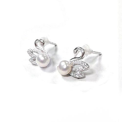 天然珍珠圓珠與純銀小天鵝耳環