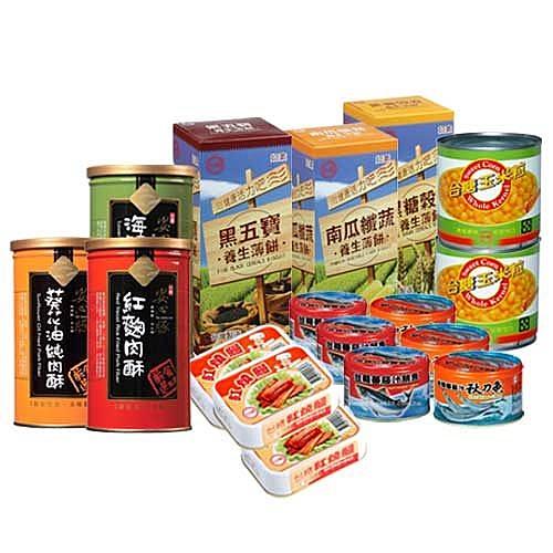 金澎派超值組  (台糖薄餅組合/安心豚肉酥組合/番茄汁秋刀魚/番茄汁靚魚/紅燒鰻魚/玉米粒)
