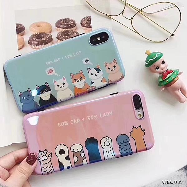 [現貨]蘋果 iPhone X/XR/XS MAX/8/7/6 s Plus 藍光烤瓷升級版 烤瓷貓掌粉嫩手機殼【QZZZ30057】