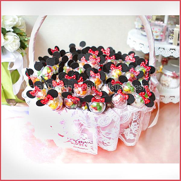 米奇米妮雷根糖棒X100支+大提籃X1個-情人節聖誕節 生日分享 慶生 婚禮小物
