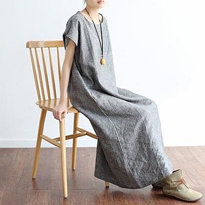洋裝-長款寬版亞麻純色簡約優雅女連身裙73sm55[巴黎精品]