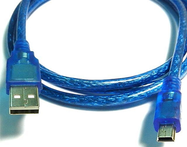 [富廉網] UB-411 USB2.0 A公對迷你5P公透明藍訊號線 60公分