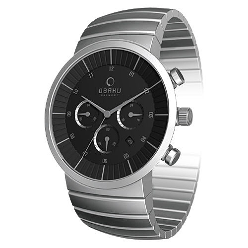 OBAKU 極簡原味主義三眼時尚腕錶(銀黑)