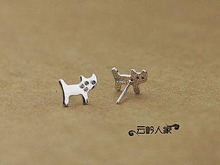 超可愛小貓 銀耳釘