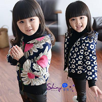 【R0002】shiny藍格子-嬰幼館.秋冬女童花朵不倒絨加厚夾克外套