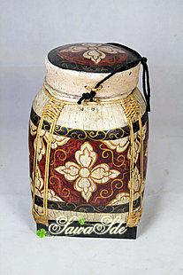 手工制作竹編彩繪儲物桶 東南亞風格家居裝飾擺件