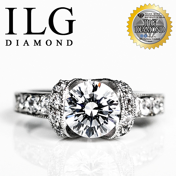 【ILG鑽】頂級八心八箭擬真鑽石戒指-閃耀佳麗款 RI068-主鑽2克拉 OL小資女女朋友最愛