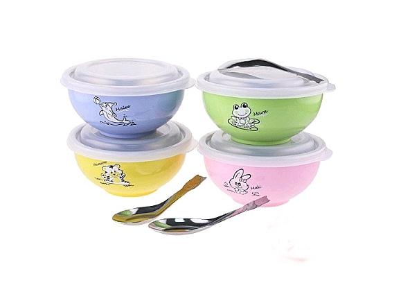 斑馬 兒童碗 兒童隔熱碗 附蓋湯匙 304不繡鋼