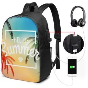 ハローサンマーホリデー リュック バックパックリュックサック USB充電ポート付き イヤホン穴付き 大容量 PCバッグ レジャーバッグ 旅行カバン 登山リュック ビジネスリュック ユニセックス おしゃれ 人気