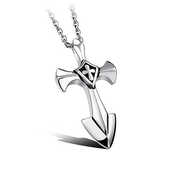Mao  【5折超值價】【316L西德鈦鋼】最新款經典時尚精美十字架造型男款鈦鋼項鍊