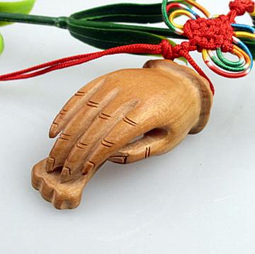 開光 桃木 如意佛手 手把件 鑰匙扣
