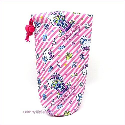 asdfkitty可愛家☆KITTY粉條紋保冷水壺袋/水壺套-不滴水-袋口拉繩設計.無背帶-日本正版商品