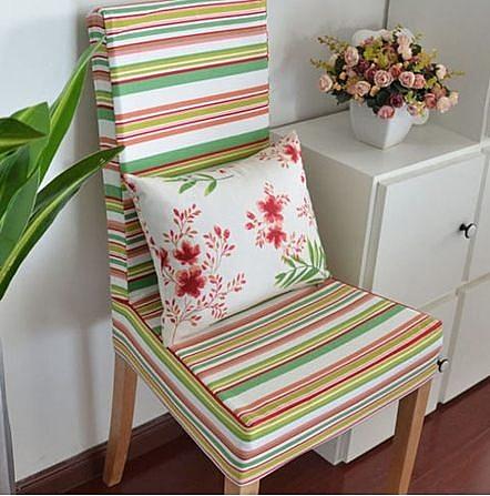 條紋款全棉布藝連體椅套/餐椅套/軟包椅套 定做(4入)-samij0037
