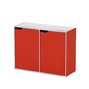《AnsHome》品味生活雙排門櫃-橘紅色