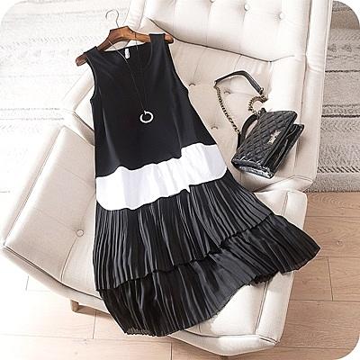 洋裝-無袖層層百褶時尚撞色連身裙73sz22【時尚巴黎】