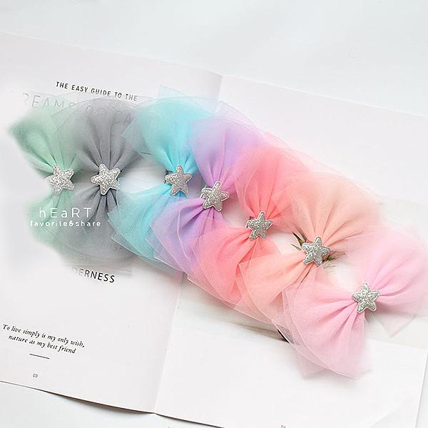 夢幻雪紗星星蝴蝶結髮夾 兒童髮飾 頭髮造型用品 髮夾