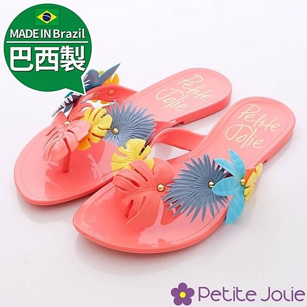 Petite Jolie巴西製夾腳拖-熱帶野性夾腳拖 拖鞋 巴西拖鞋 海灘拖-7711426-R-紅-0
