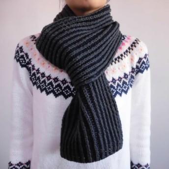 【SALE】2色使いのイギリスゴム編みマフラー グレー×紺