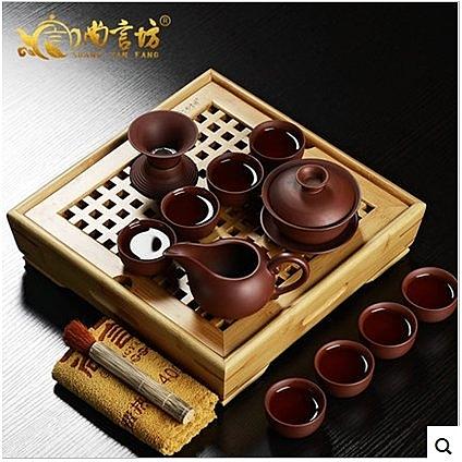 茶具茶海青花陶瓷哥窯青瓷整套茶具套裝特價竹製小茶盤家用(小竹一方天地-紅紫砂蓋碗12入)