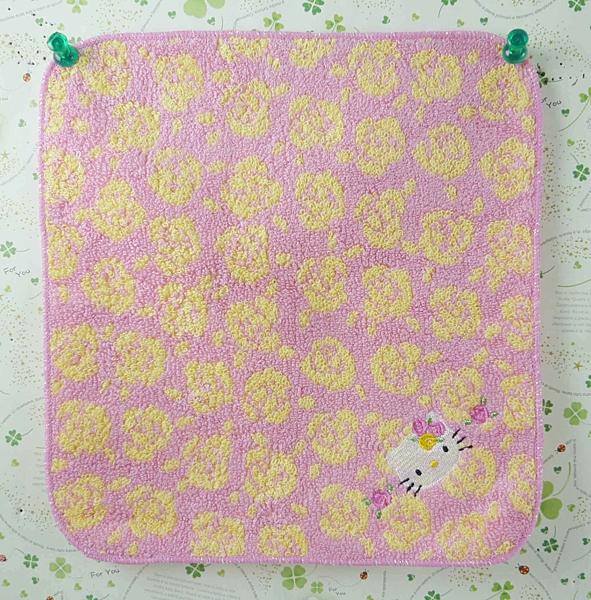 【震撼精品百貨】Hello Kitty 凱蒂貓~方巾/毛巾-粉底色-黃玫瑰造型