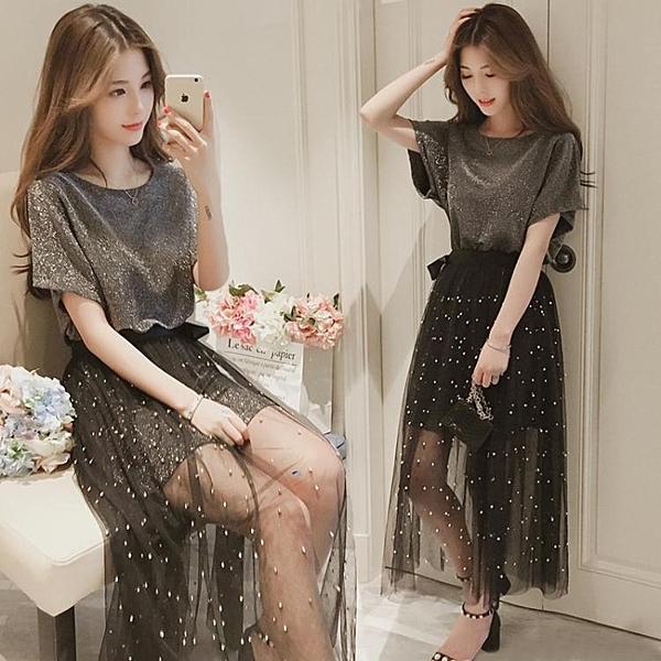快速出貨 復古裙子兩件套夏季  過膝溫柔網紗洋裝 連身裙