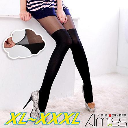 Amiss【A517-7】3XL大U型接片‧雙色拼接♥假膝上襪(顯瘦黑)