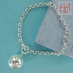 銀 單環可掛圓球手鏈 簡明時尚 手工 舒適