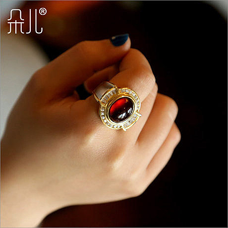 設計手工石榴石 時尚戒指女款 枚紅色