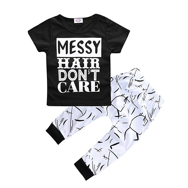 短袖套裝 黑白字母 短袖上衣+薄棉長褲 中小童裝 SK223 好娃娃