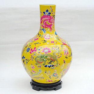 粉彩 陶瓷 龍鳳呈祥落地大花瓶 工藝品 擺件裝飾