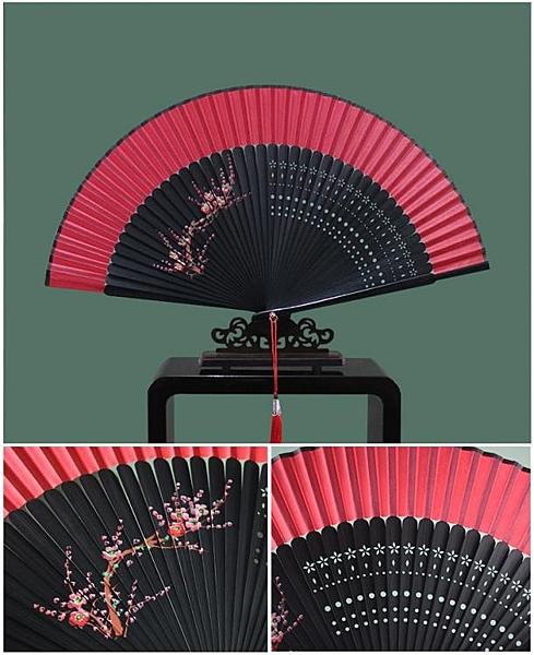大紅色女式手繪扇子折扇中國風古風古典摺疊扇子可跳舞蹈扇【八折搶購】
