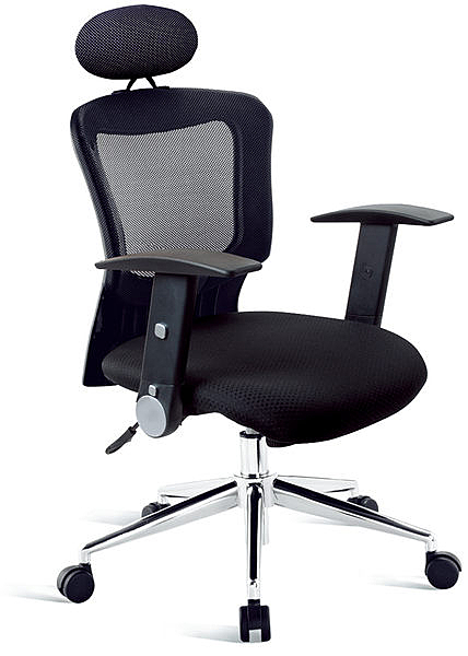 Y168-1  有枕網布辦公椅(黑網/PP扶手/鋁合金腳) 規格:W63×D60×H108~121公分