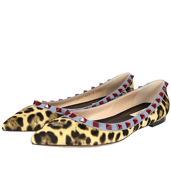 【Valentino】紅鉚釘ROCKSTUDS平底鞋 (豹紋馬毛+灰藍邊) JW2S0403WCM C25