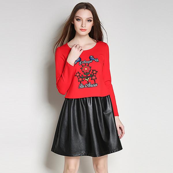 大尺碼洋裝 拼接貼布長袖PU皮裙連身裙 XL-5XL #zr2998 ❤卡樂store❤