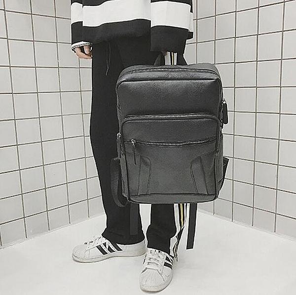 找到自己品牌 日系 黑 時尚潮流 男 皮革PU 學生包 旅行背包 多用途背包 書包 後背包 肩背包