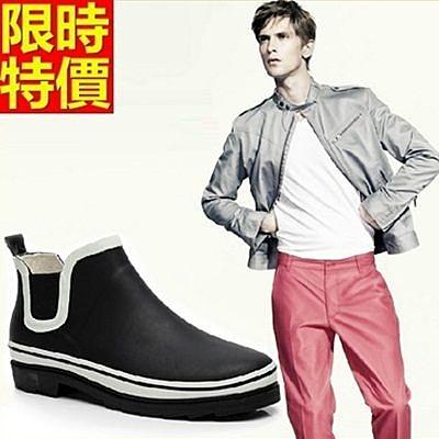男雨靴-男雨具歐美時尚經典簡約純色男長筒雨鞋67a5【時尚巴黎】