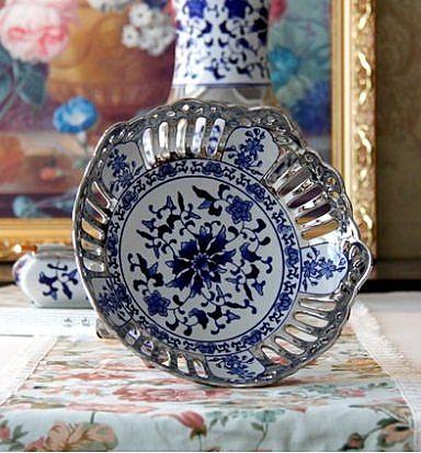 景德鎮陶瓷鍍銀青花瓷客廳擺件