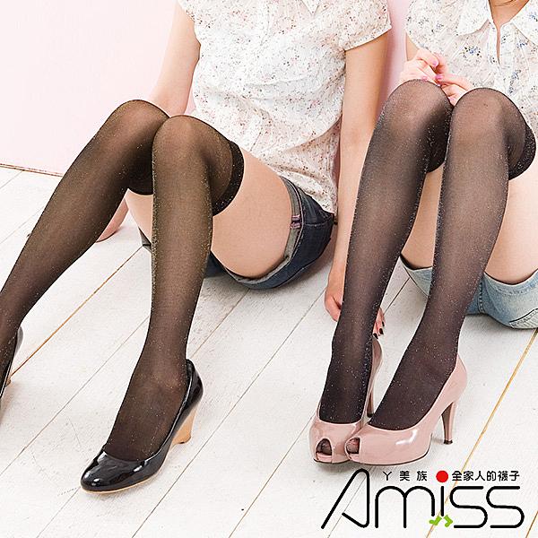 Amiss【A420-1】金蔥平口膝上襪♥黑/金蔥