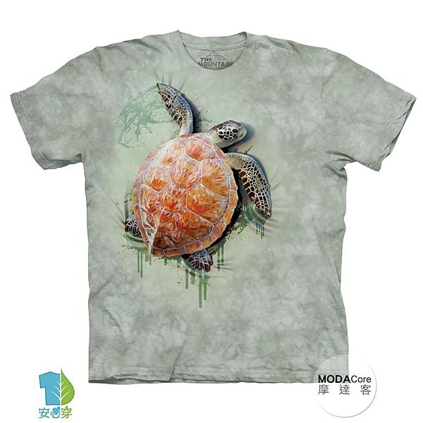 【摩達客】(預購)美國進口The Mountain 爬行海龜 純棉環保藝術中性短袖T恤