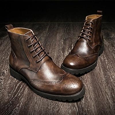 中筒靴真皮-繫帶英倫復古巴洛克雕花男靴子2色73kk28【巴黎精品】