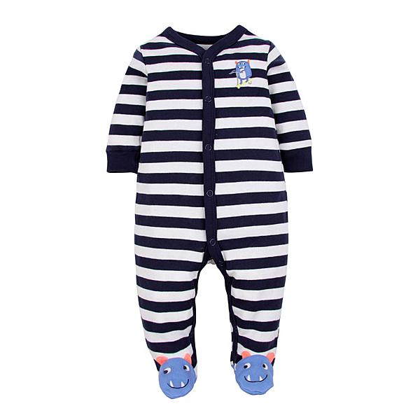 男Baby男童長袖連身衣藍色橫條小怪薄棉包腳連身衣現貨歐美品質