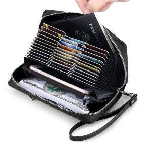 JEEBURYEE カードケース レディース 財布 メンズ 長財布 本革 人気 じゃばら 大容量 磁気防止 RFID スキミング防止 カード入れ 名刺入れ 60枚収納可能 レザー 小銭入れ 男女兼用 ブラック