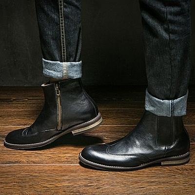 真皮中筒靴-側拉鍊復古英倫切爾西休閒男靴子2色73kk25【巴黎精品】