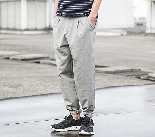 找到自己 MD 日系 潮 男 時尚 簡約寬鬆腰帶 休閒長褲 九分褲 工作褲