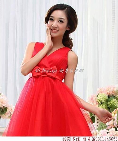 (45 Design)  客製化 定製款7天到貨  性感V領雙肩短款修身綁帶紗裙蓬蓬裙 新款宴會姐妹裙伴娘禮服