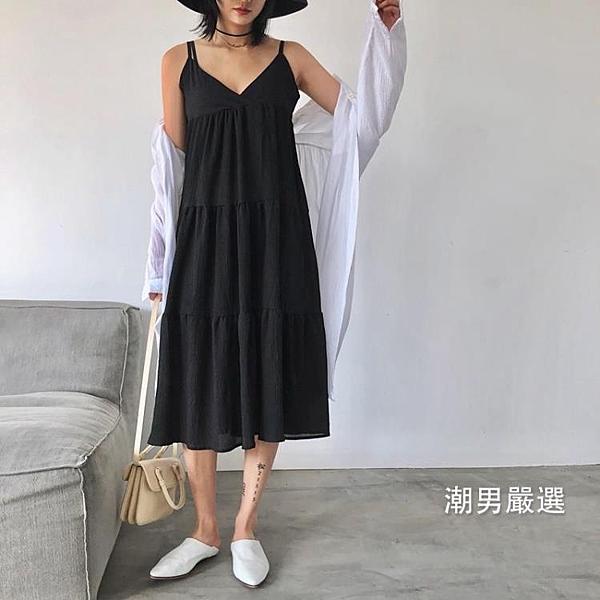 洋裝度假風黑白冷淡甜美層疊蛋糕裙百褶細肩帶連身裙吊帶裙