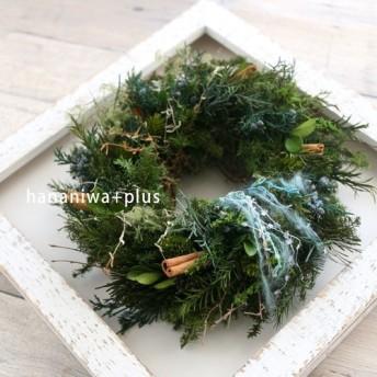 [Creema限定]シックに…針葉樹が香るプリザーブドフラワーリース/アンティーク調フレームに★クリスマス★