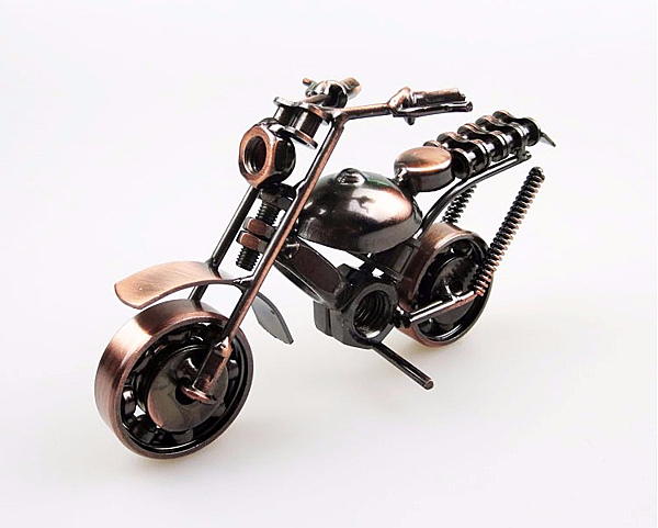 高檔復古 ZAKKA雜貨鐵藝擺件 摩托車模型 金屬工藝 家居裝飾禮品 古銅